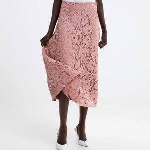Zara a-lined Lace Pink Skirt NWT 109/MQ